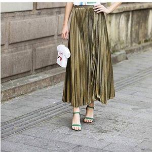 Metallic Shiny Accordion Pleated Maxi Skirt